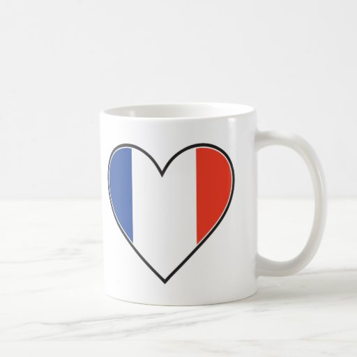 Bandera francesa del corazón taza de café