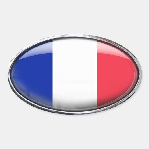 Bandera francesa en el óvalo de cristal (paquete pegatina ovalada