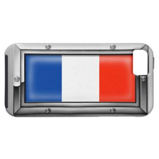 Bandera francesa en un marco de acero funda para iPhone SE/5/5s