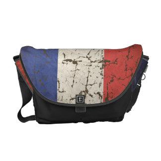 Bandera francesa envejecida bolsas de mensajeria