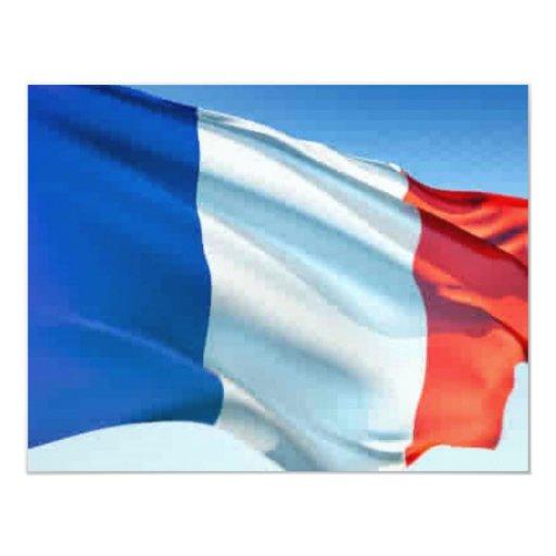 Bandera francesa invitación 10,8 x 13,9 cm