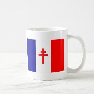 Bandera francesa libre de las fuerzas tazas de café