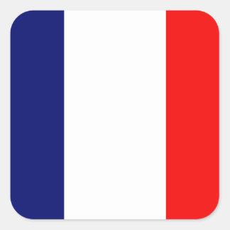 Bandera francesa calcomania cuadrada personalizada
