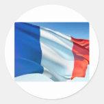 Bandera francesa pegatina redonda