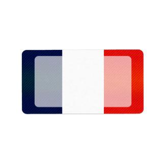 Bandera francesa pelada moderna etiquetas de dirección