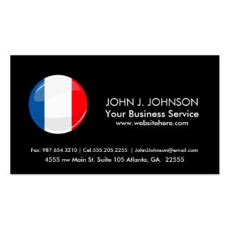 Bandera francesa redonda brillante tarjetas de visita