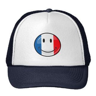 Bandera francesa sonriente gorros bordados