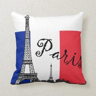 Bandera francesa y la torre Eiffel Almohada