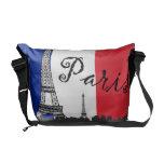 Bandera francesa y la torre Eiffel Bolsas De Mensajeria