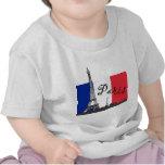 Bandera francesa y la torre Eiffel Camisetas