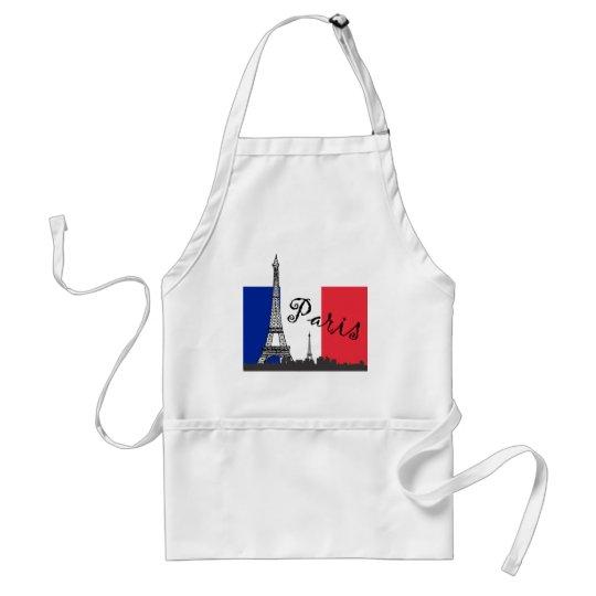 Bandera francesa y la torre Eiffel Delantal