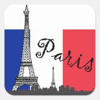 Bandera francesa y la torre Eiffel Pegatina Cuadrada