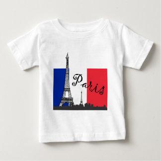 Bandera francesa y la torre Eiffel Playera De Bebé