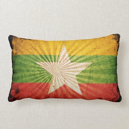 Bandera fresca de Birmania del Grunge Cojin