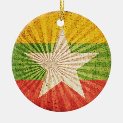 Bandera fresca de Birmania del Grunge Ornamento De Navidad