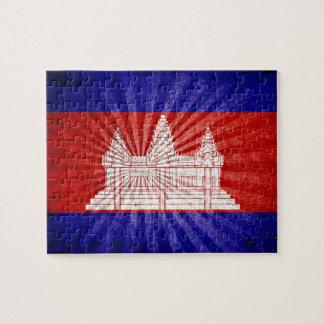 Bandera fresca de Camboya del Grunge Rompecabezas Con Fotos