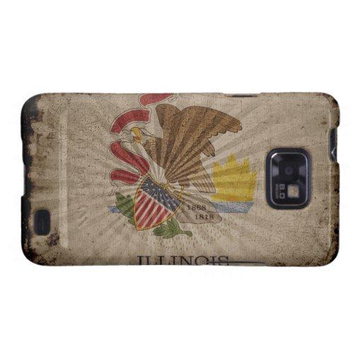 Bandera fresca de Illinois del Grunge Samsung Galaxy S2 Carcasas