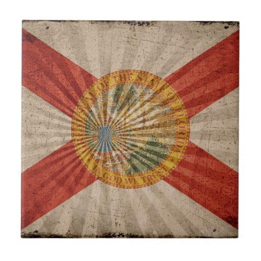 Bandera fresca de la Florida del Grunge Teja Ceramica