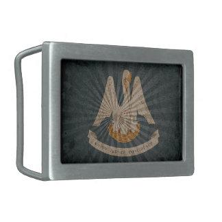 Bandera fresca de Luisiana del Grunge Hebillas De Cinturon