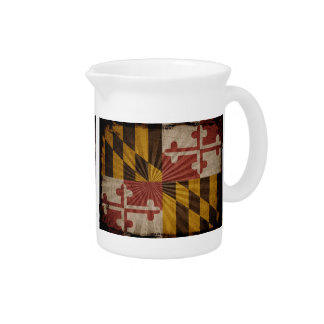 Bandera fresca de Maryland del Grunge Jarra De Beber