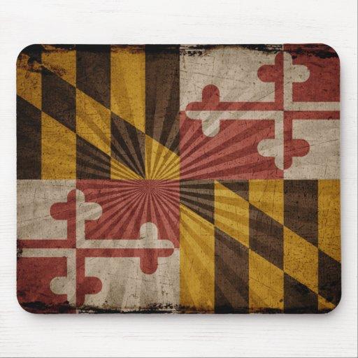 Bandera fresca de Maryland del Grunge Alfombrilla De Ratones