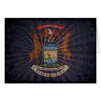 Bandera fresca de Michigan del Grunge Tarjeta Pequeña