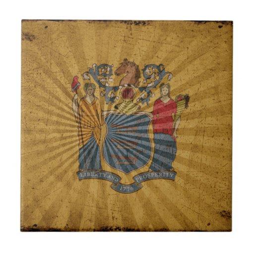 Bandera fresca de New Jersey del Grunge Azulejos Ceramicos