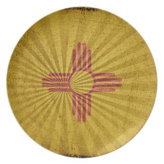 Bandera fresca de New México del Grunge Plato De Comida