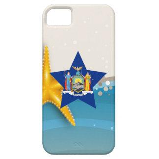 Bandera fresca de Nueva York en la playa iPhone 5 Carcasas