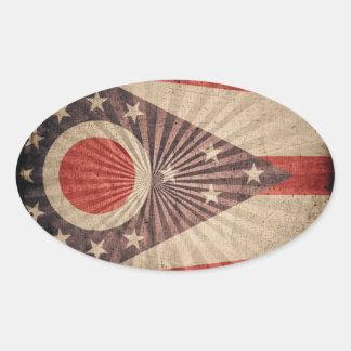 Bandera fresca de Ohio del Grunge Pegatina Ovalada