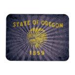 Bandera fresca de Oregon del Grunge Imanes Rectangulares