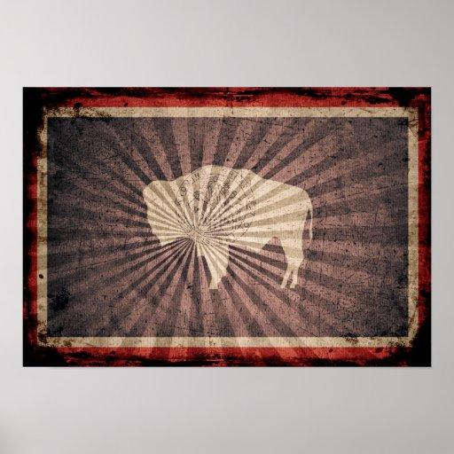Bandera fresca de Wyoming del Grunge Póster