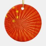Bandera fresca del chino del Grunge Ornamento Para Reyes Magos