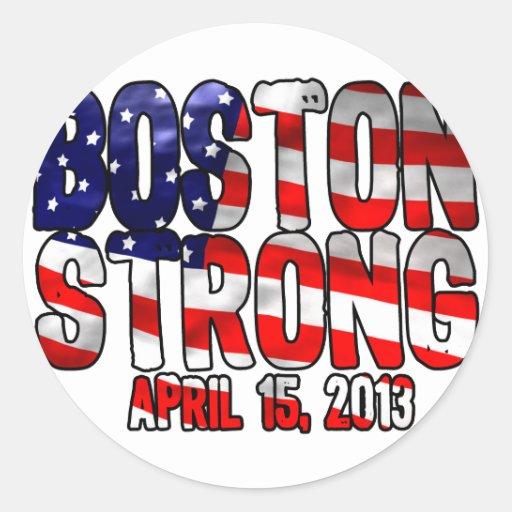 Bandera fuerte de Boston Etiqueta Redonda