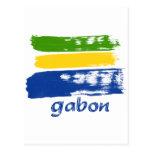 Bandera gabonesa del grunge tarjeta postal