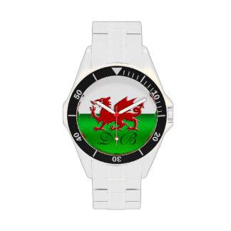 Bandera Galés del monograma, cromo-efecto grabado  Relojes