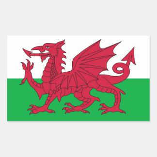 Bandera Galés Pegatina Rectangular