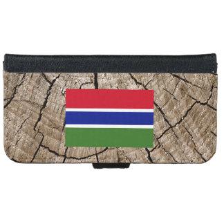 Bandera gambiana en corteza de árbol funda cartera para iPhone 6