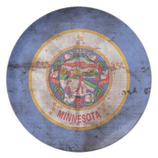 Bandera gastada de Minnesota; Platos Para Fiestas