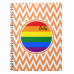 Bandera gay; Chevron anaranjado y blanco Libros De Apuntes Con Espiral