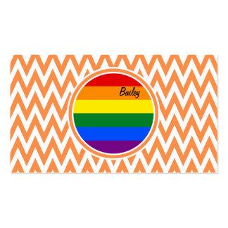 Bandera gay; Chevron anaranjado y blanco Tarjetas De Visita