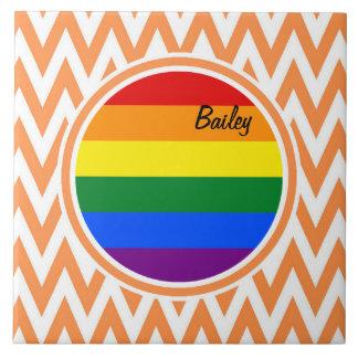 Bandera gay Chevron anaranjado y blanco Azulejos Cerámicos