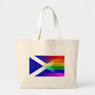 Bandera gay de Escocia de la pared del arco iris Bolsa Tela Grande