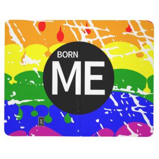 Bandera gay del arco iris llevada esta manera cuaderno