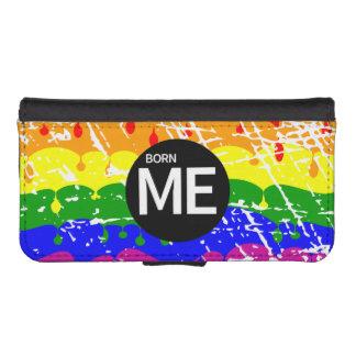 Bandera gay del arco iris llevada esta manera fundas tipo billetera para iPhone 5