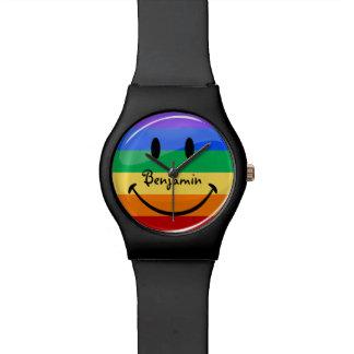 Bandera gay sonriente redonda brillante del relojes de pulsera