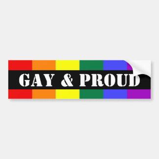 Bandera gay y orgullosa del arco iris pegatina de parachoque