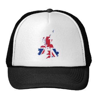 Bandera GB del mapa de Reino Unido Gorros Bordados