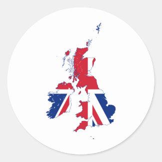 Bandera GB del mapa de Reino Unido Pegatina Redonda