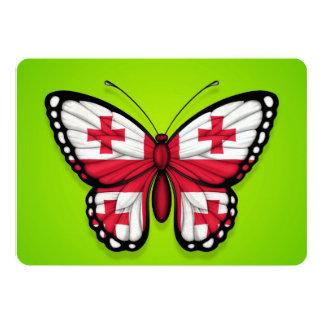 """Bandera georgiana de la mariposa en verde invitación 5"""" x 7"""""""